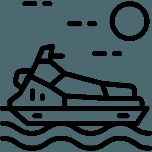 Clube náutico e trator para movimentar jet skis e barcos de 22 pés.